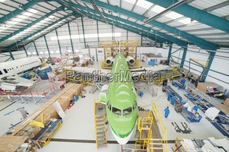 high angle view of engineers and