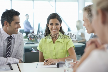 portrait of smiling businesswoman with co