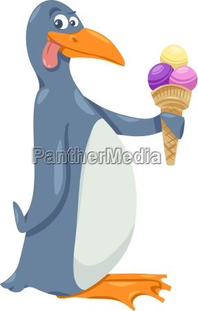 pinguin, mit, eiscreme-cartoon - 12929030