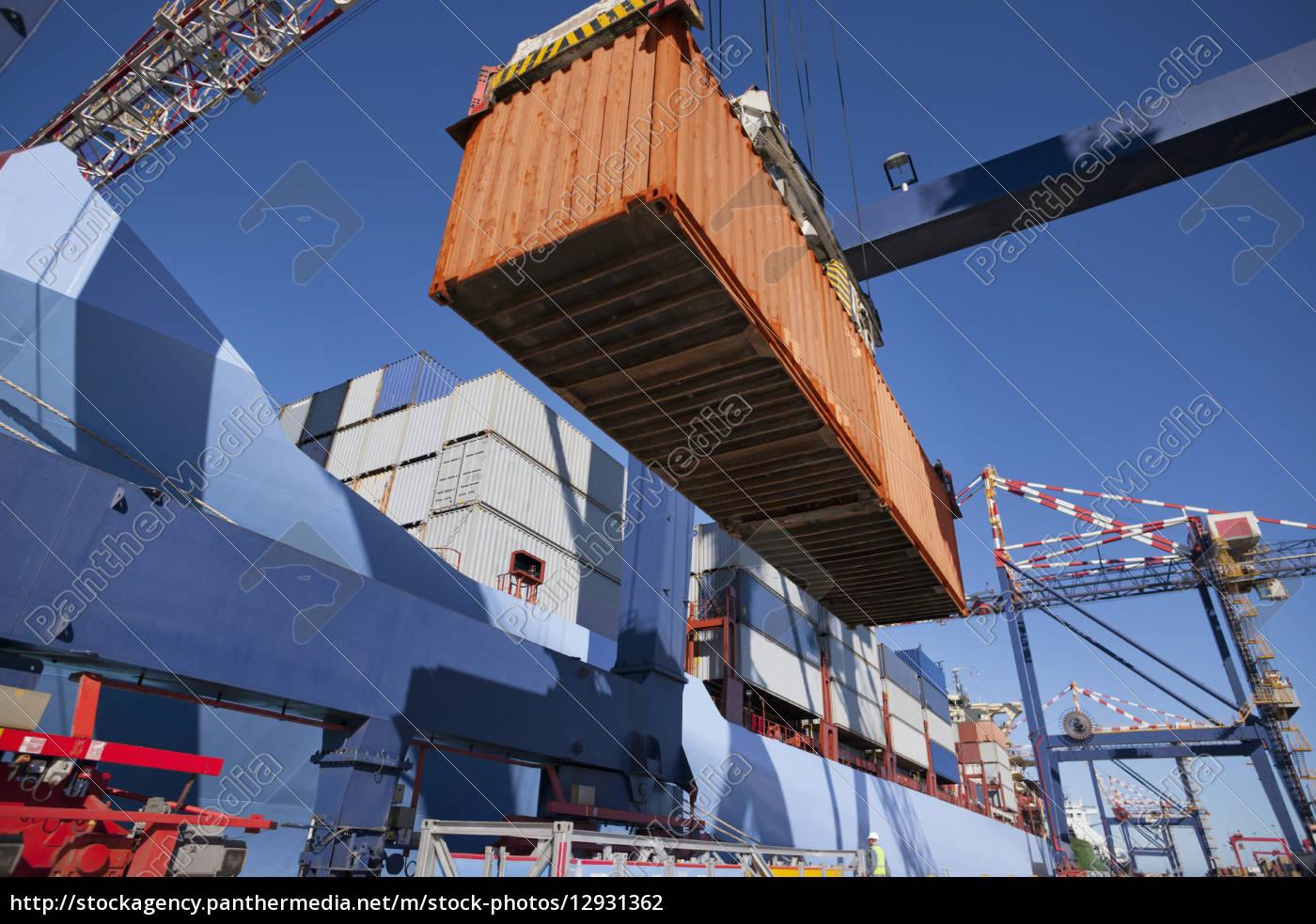 kranentladung, containerschiff, am, dock - 12931362