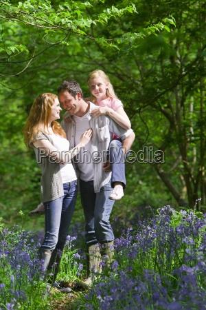 family walking in field of bluebell