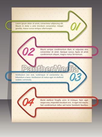arrow shaped binding clip infographic design