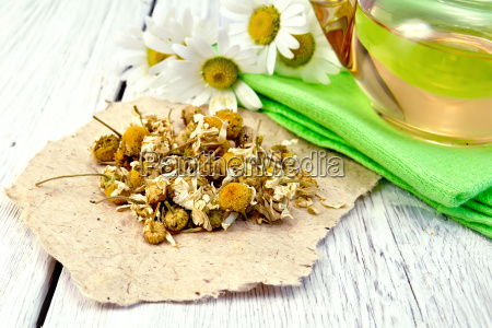 chamomile dried on paper with glass