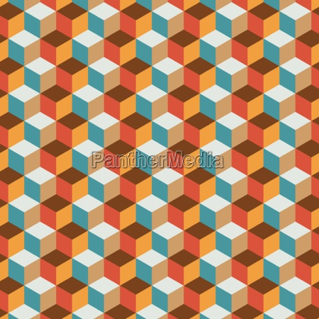 vintage cube flat color background
