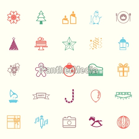 new year and christmas line icons