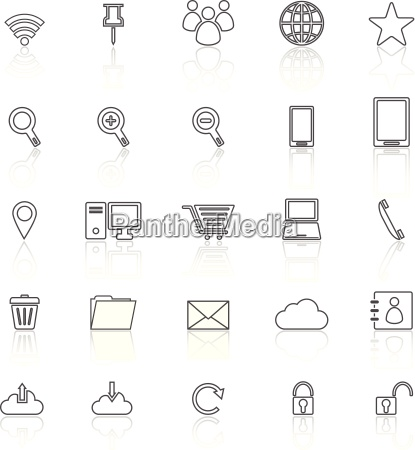 internet line icons with reflect on