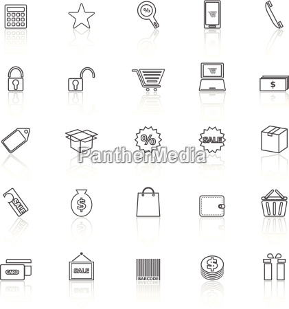 shopping line icons with reflect on
