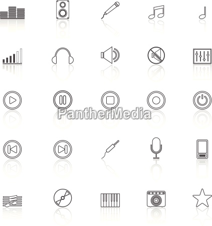 music line icons with reflect on