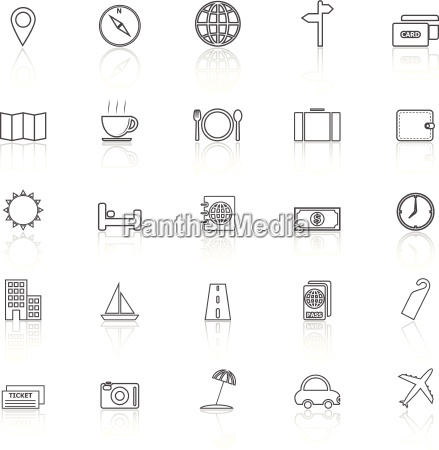 travel line icons with reflect on