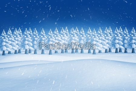composite image of fir trees in