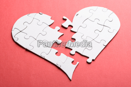 broken heart made of puzzle