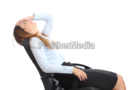 profile of a tired businesswoman sitting