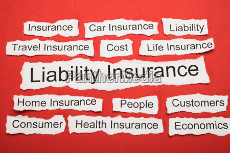 liability insurance text on piece of