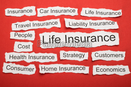 life insurance text on piece of