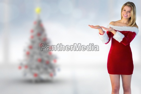 composite image of pretty girl presenting