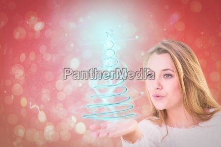 composite image of pretty blonde blowing