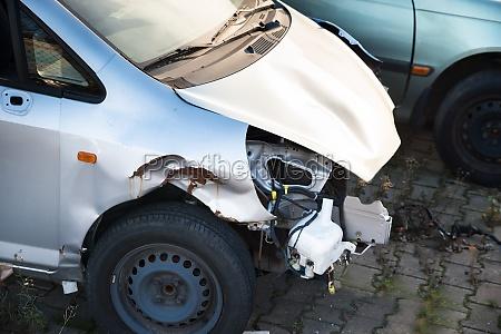 close up of car wreck