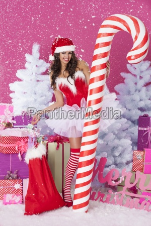 lovely woman in christmas time