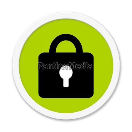 runder gruener button mit schloss symbol
