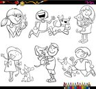 kids and pets set coloring page