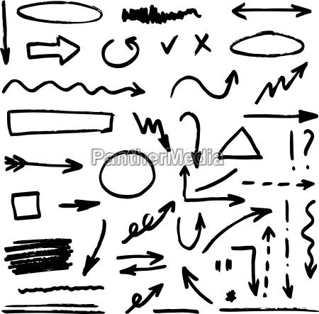set schwarz hand gezeichnet pfeile