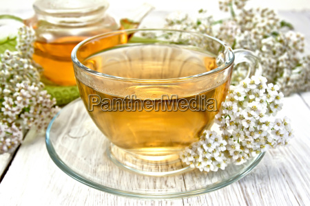 tea with yarrow in cup on