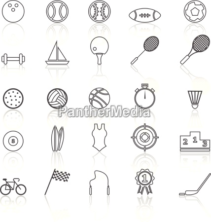 sport line icons with reflect on