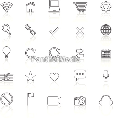 web line icons with reflect on