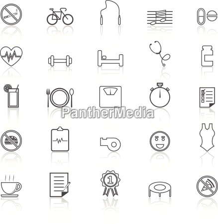 wellness line icons with reflect on