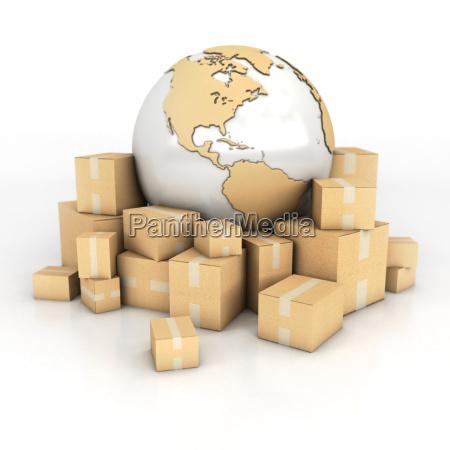 erde, und, boxen, im, karton, textur - 14300751