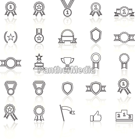award line icons with reflect on