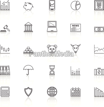 stock market line icons with reflect