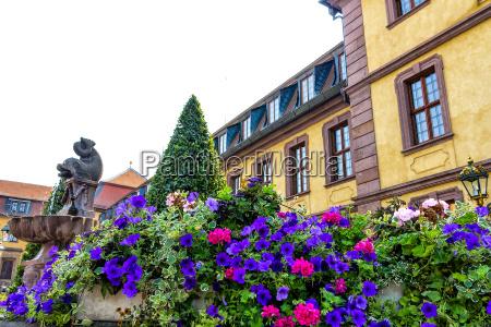 blaue petunien vor der stadt fontaine