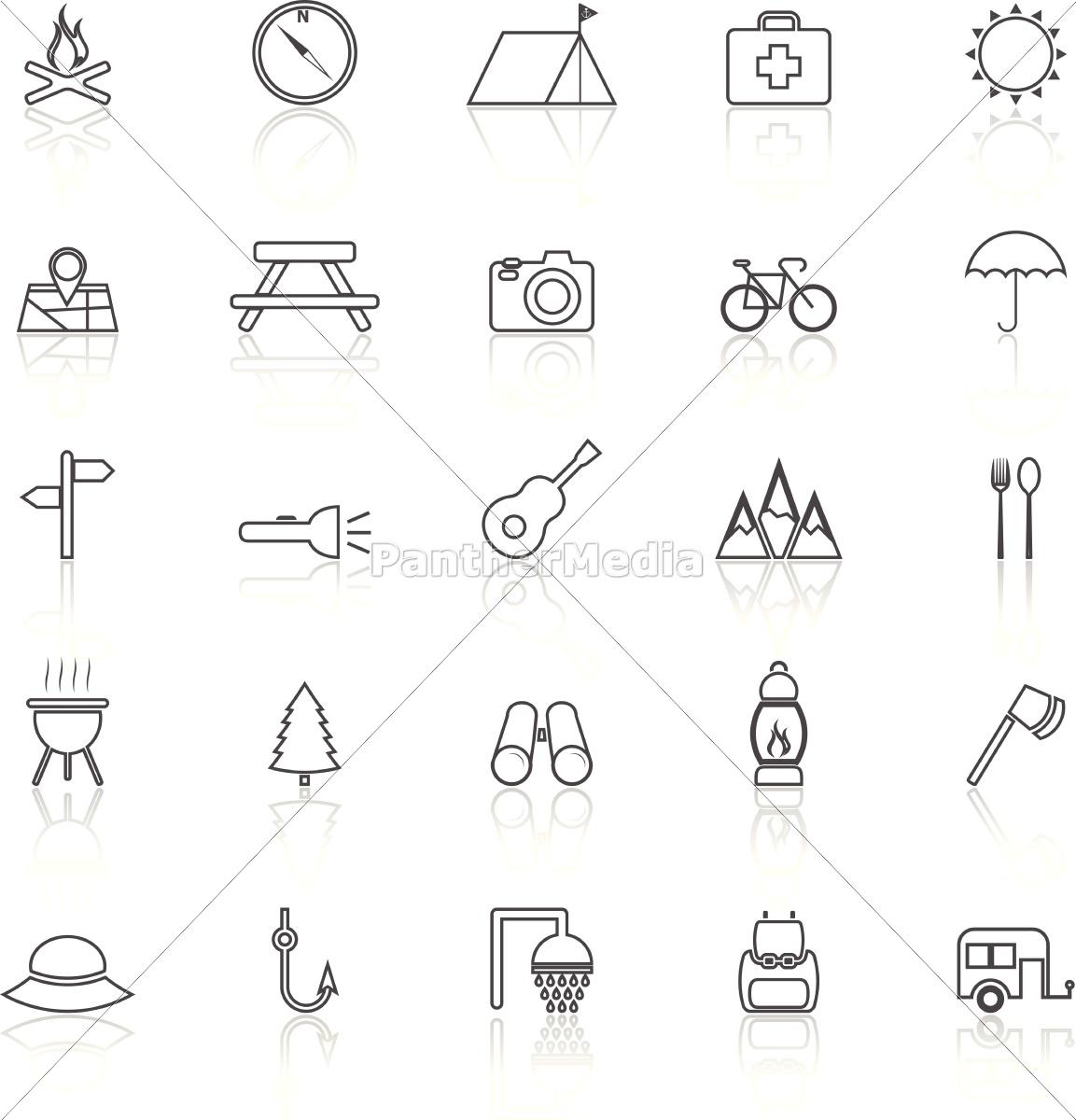 camping, linie, icons, mit, reflektieren, auf - 14326557