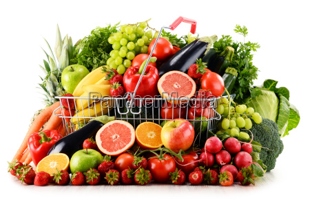 organic vegetables and fruits in shopping