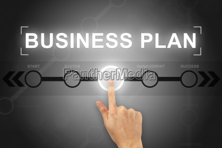 hand clicking business plan button on