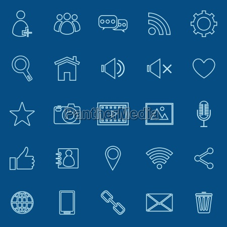 chat line icons on blue background