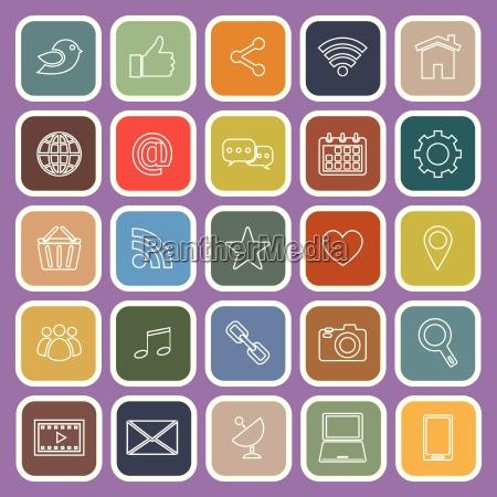 social media line flat icons on