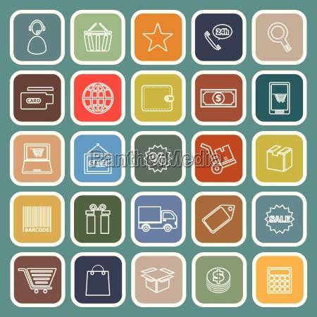 e commerce line flat icons on
