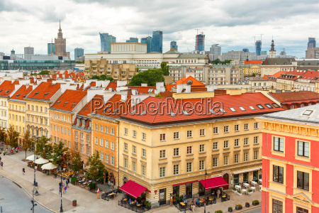 aerial view of skyscrapers and warsaw