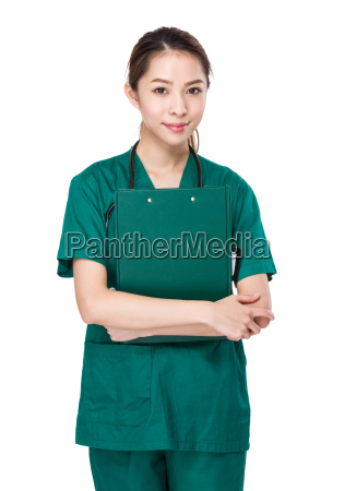 asian doctor hold with clipboard