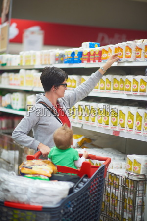 mother with baby in shopping
