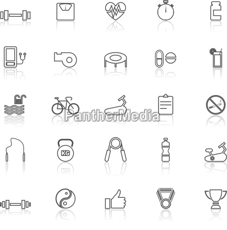 fitness line icons with reflect on