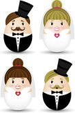 bride and groom vector set