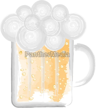 beer glass vector illustration watercolors