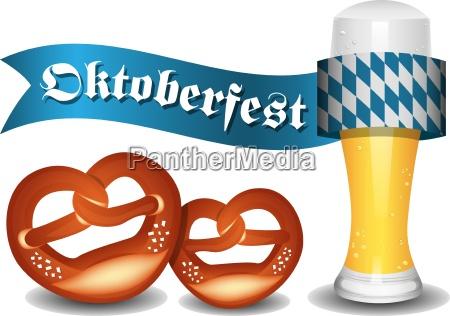 oktoberfest banner mit brezeln und bier