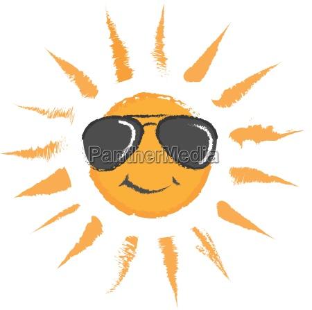 sun with sunglasses vector icon