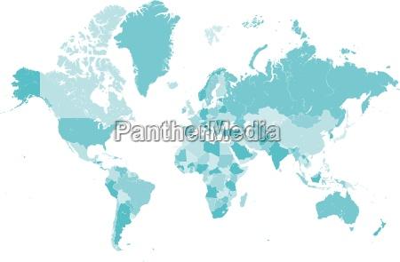 welt karte blau mit laender grenzen
