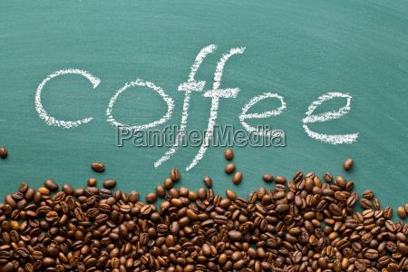 coffee beans on chalkboard