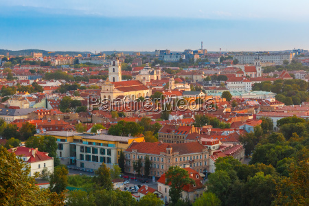 aerial view over old town of